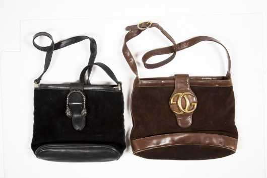 Two Gucci Suede Totes With Shoulder Straps