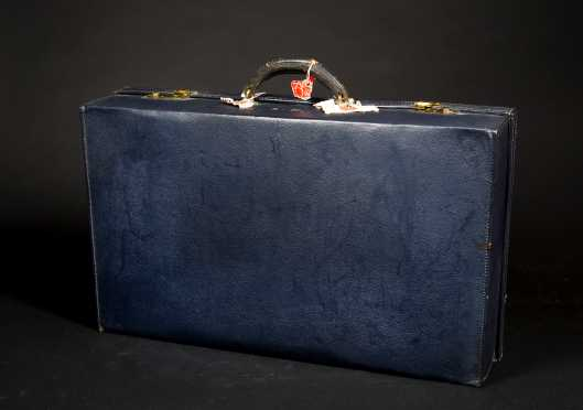 Navy Pebbled Leather Suitcase