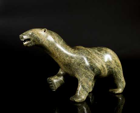 Inuit Carved Stone Walking Polar Bear