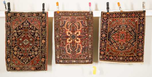 Three Sarouk Mat Oriental Rugs