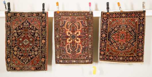 Three Sarouk Mat Oriental Rugs