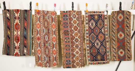 Five Caucasian Kalim Mat Oriental Rugs