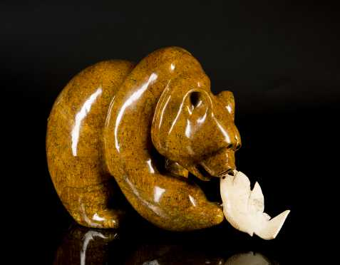 Inuit Carved Soapstone Bear Catching a Fish