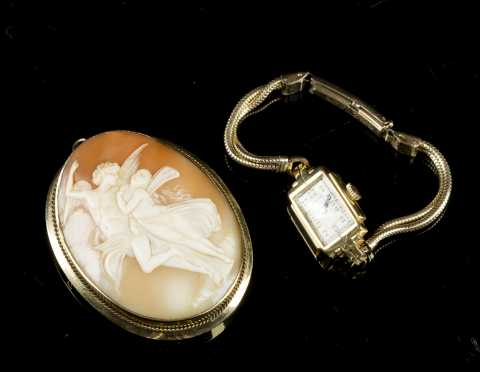 Cameo and Gold Watch
