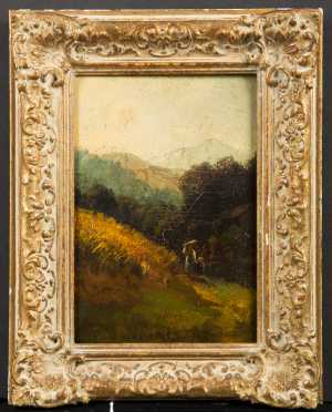 "Oil on Board Landscape Signed ""T.R."""