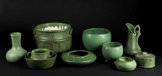 "Green ""Hampshire Pottery"" Miscellaneous Lot"