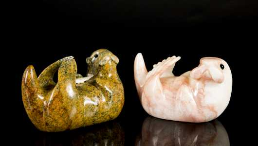 Two Inuit Carved Soapstone Seals