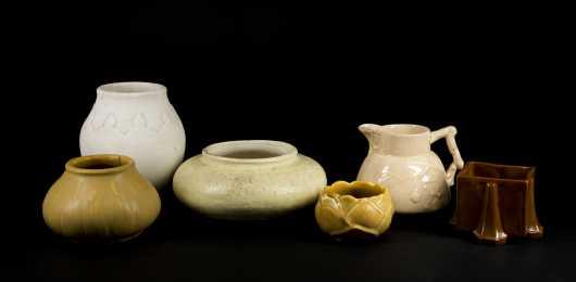 """Hampshire Pottery"" Multi Colored Lot of Seven Pieces"