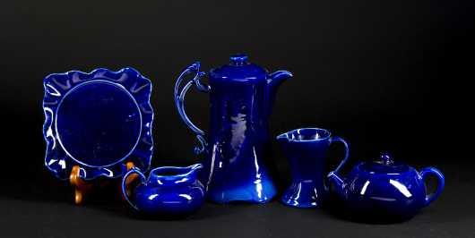 "Bright Blue ""Hampshire Pottery"" Miscellaneous Lot"