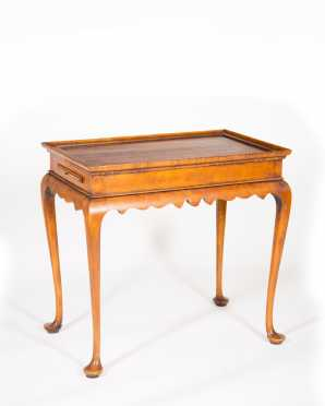 "Tiger Maple Queen Anne Style Tea Table by ""Eldred Wheeler"""