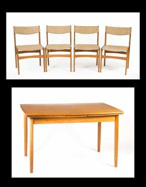 Danish Modern Extension Table and Four Chairs