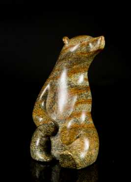 Inuit Carved Soapstone Seated Polar Bear