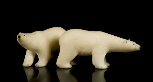 Pair of Inuit Carved White Soapstone Polar Bears