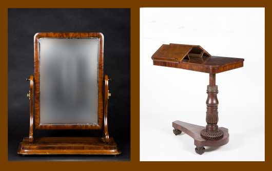 English Adjustable Reading Table and Empire Mirror