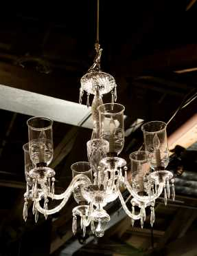 Waterford Style Six Arm Crystal Chandelier