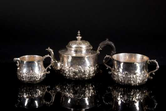 "English ""York Plate"" Silver Three Piece Tea Set"