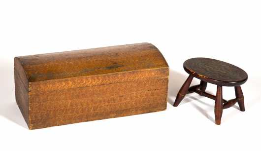 Sponge Painted Footstool and Decorated Dome Top Box
