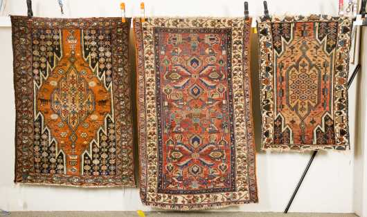 Three Hamadan Scatter Oriental Rugs
