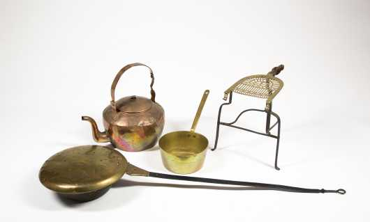 Lot for Four Brass/Copper Fireplace Accessories