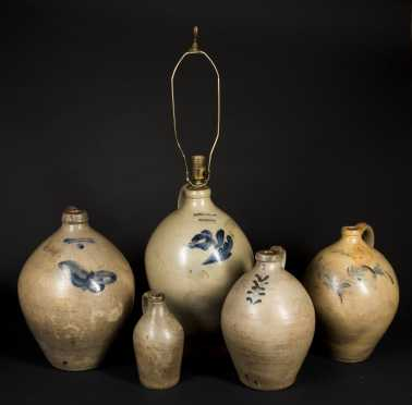 Five Stoneware Ovoid Jugs
