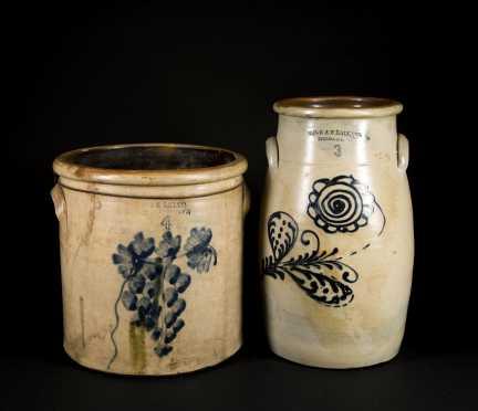 Two Decorated Stoneware Pieces Ballard Burlington VT