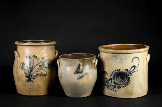 Three Pieces Decorated Crocks
