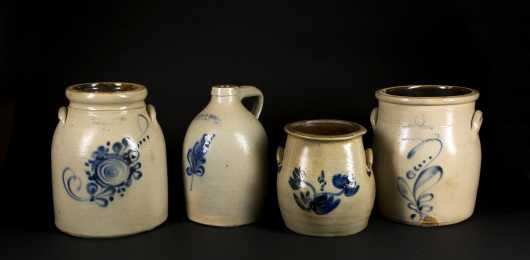 Four Blue Decorated Stoneware Pieces