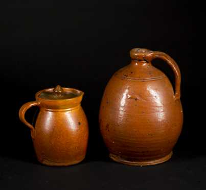Two Pieces Glazed Redware