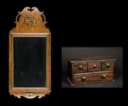 Queen Anne Mirror and Grain Painted Set of Drawers