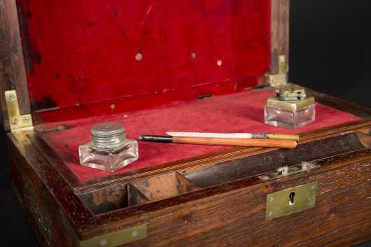 Labeled English Rosewood Desk Box