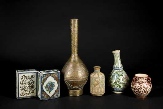 Lot of Six Persian Decorated Items