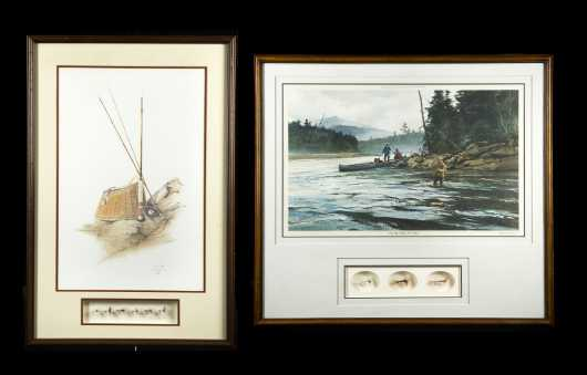 Two Fishing Framed Prints and Flies