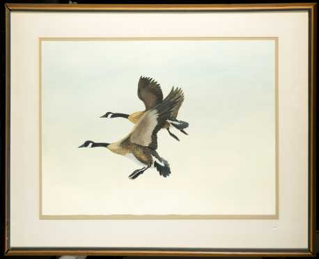 Watercolor Painting of Two Geese Coming into Land