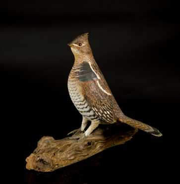 Standing Grouse Wood Carving by Keith Davidson, Siren, Wisconsin