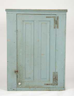 18thC Blue Gray Painted Hanging Cupboard