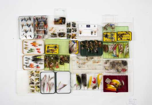 Lot of Twenty-One Boxes of Wet and Dry Salmon and Saltwater Flies