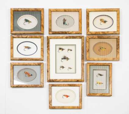 Lot of Nine Beautifully Framed and Mounted Salmon Flies