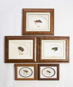 Lot of Five Beautifully Framed and Mounted Salmon Flies
