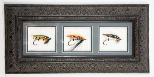 Particularly Beautiful Collage of Three Fully Dressed Salmon Flies