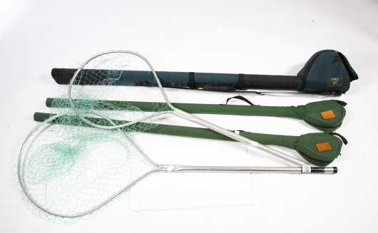 Lot of Two Fishing Nets and Three Rod/Reel Cases