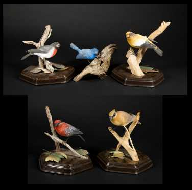 Five Carved Songbirds