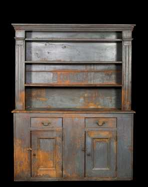 Important Blue Painted Open Top Pewter Cupboard