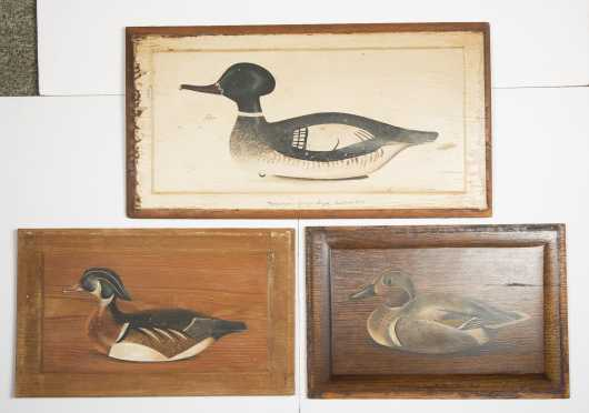 Three Wooden Plaques of Ducks