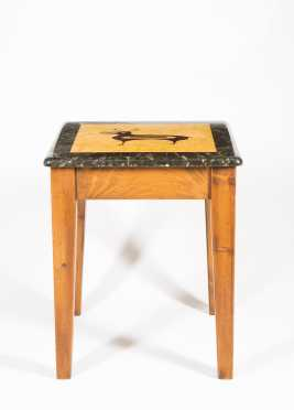 Native American Inlaid Wood Side Table