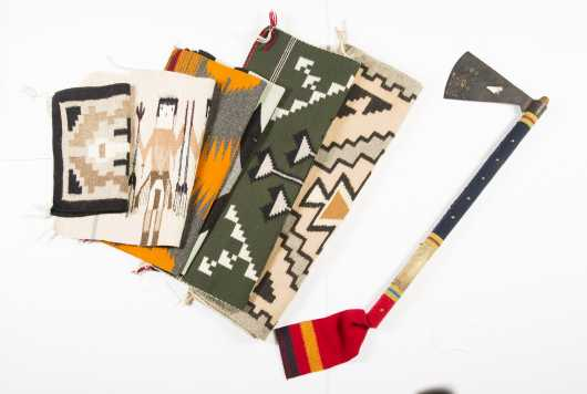 Six Navajo Made Mat Size Rugs and Tomahawk