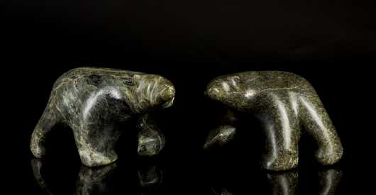Two Inuit Carved Soapstone Bears