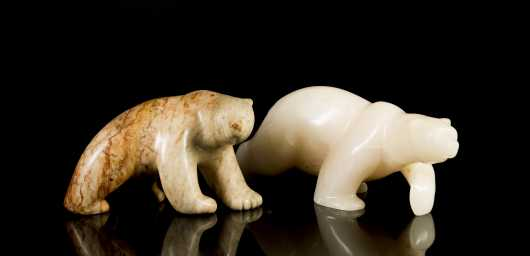 Two Inuit Carved Soapstone Polar Bears