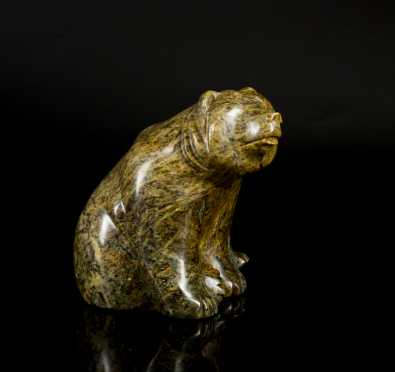 Inuit Carved Soapstone Seated Grizzly Bear