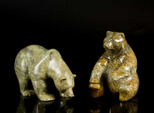 Two Inuit Carved Soapstone Grizzly Bears