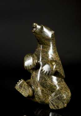 Seated Inuit Carved Soapstone Polar Bear